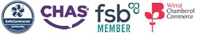 Chas Approved, Safe Contractor Approved, FSB & Member Of Wirral Chamber Of Commerce